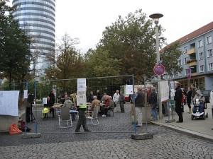 Auf dem Gelände des künftigen Eichplatz-Centers trafen sich am 11.09.2013 verschiedene Jenaer Bürgerinitiativen